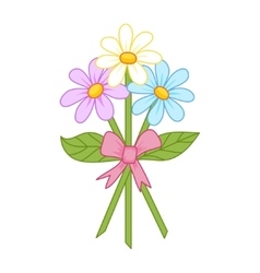 Cute bouquet of camomiles tied up by a ribbon vector image
