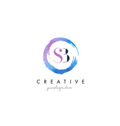 sb letter logo circular purple splash brush vector image vector image