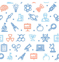 science research flat pattern with thin line icons vector image