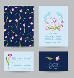 wedding invitation card with spring tulips flowers vector image