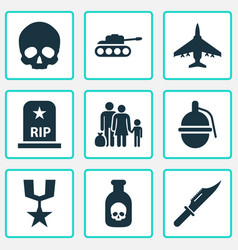 combat icons set collection of aircraft vector image vector image