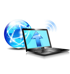 Internet Ball and Laptop upload world vector image