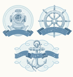 Nautical emblems with hand drawn elements vector image