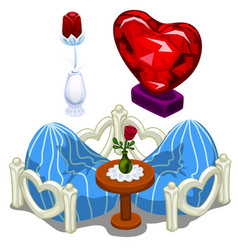 ruby hearts furniture table and precious roses vector image vector image