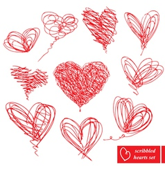 Set of 10 scribbled hand-drawn sketch hearts vector image