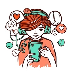 Young Girl In Headphones With Smartphone vector image