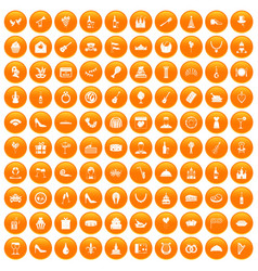 100 banquet icons set orange vector