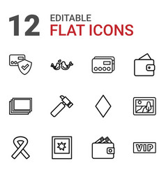 12 card icons vector image