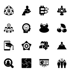 16 group filled icons set isolated on white vector