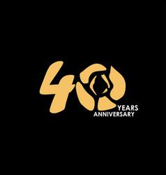 40 year anniversary flower template design vector