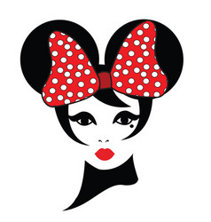 a woman wearing a red ribbon with mouse ears vector image