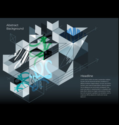 abstract isometric background of geometric shapes vector image