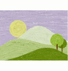 Abstract landscape drawn in pastel vector
