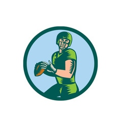 American Football QB Throwing Circle Woodcut vector