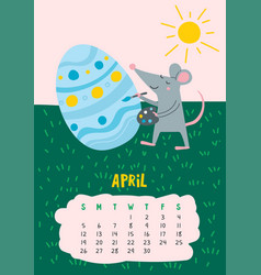 April calendar page with cute rat decorate easter vector