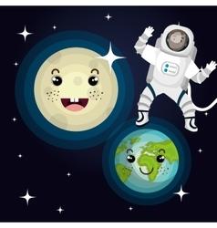Astronaut cartoon space isolated vector