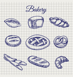 bakery products on notebook page vector image