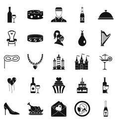 Banquet hall icons set simple style vector