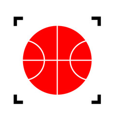 basketball ball sign red vector image