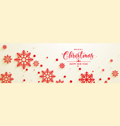 beautiful red sbowflakes christmas banner design vector image