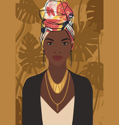 beautiful young black african woman wearing an vector image
