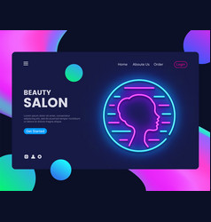 beauty salon neon creative website template design vector image