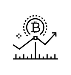 bitcoin growth rates - line design single vector image