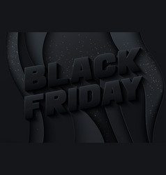 black friday poster template paper style vector image