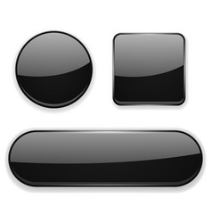 black glass buttons 3d icons vector image