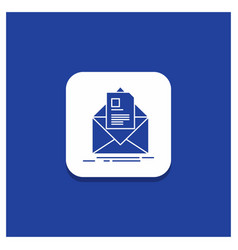 blue round button for mail contract letter email vector image