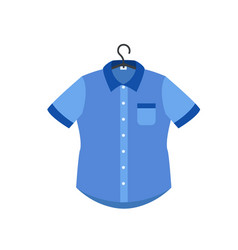 blue shirt on hanger icon flat style vector image