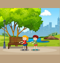 Boy and girl floss dance in the park vector