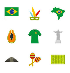 brazilan symbols icon set flat style vector image