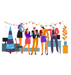 business team celebrating christmas and new year vector image