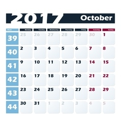 Calendar 2017 October design template Week vector image