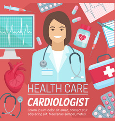 Cardiologist doctor with heart and ecg vector