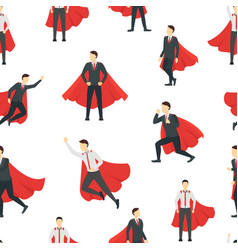 Cartoon businessman superhero seamless pattern vector