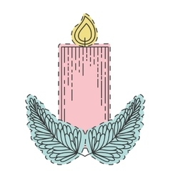Christmas candle decoration vector