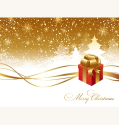 Christmas landscape and gift box vector