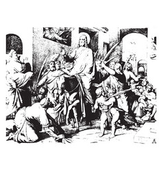 Christs entry into jerusalem are painter vector