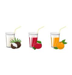 Coconut mango and grapefruit juices vector