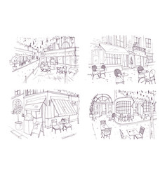 Collection of freehand sketches of outdoor cafe or vector