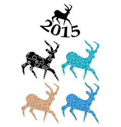 Color goats - symbol of chinese 2015 year vector