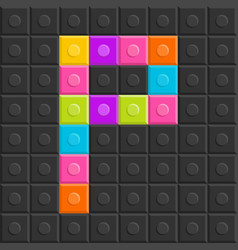 colorful brick block letter p flat design vector image