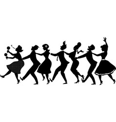 Conga dance silhouette vector
