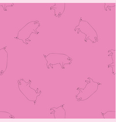 contour black and pink seamless pattern with pigs vector image