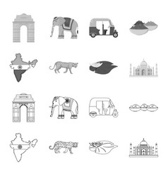 Country india outlinemonochrome icons in set vector