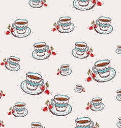 Cup of coffee and cherry Hand drawn sketch on pink vector image