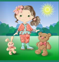 cute cartoon girl with toys teddy bear and rabbit vector image