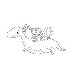 Cute little kids are flying a dragon cartoon vector